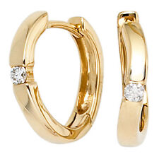 Goldcreolen Creolen 2 Diamanten Brillanten 585 Gold Gelbgold Ohrringe 39370