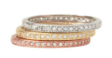 Belargo Three Stack Tri-Color Gold Silver Thin Eternity Bands Rings, Size 8