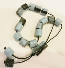 Greek Komboloi Worry Beads~Pale Blue/Black  Resin  Beads- Black Cord-New
