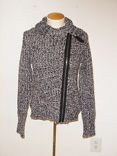 FREE PEOPLE BLACK LONG SLEEVE ASYMMETRICAL ZIPPERED CARDIGAN SWEATER SIZE S