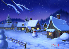 Snowy Christmas Village Vinyl Backdrop Photography Prop Background 7x5FT DZ484