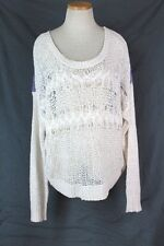 NINE WEST Vintage America Cable Knit Pullover Sweater XL Cream Purple