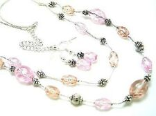TWO LAYER PINK GLASS BEAD SILVER TONE BEADS NECKLACE EARRING SET