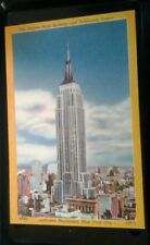 LINEN POSTCARD EMPIRE STATE BUILDING MID TOWN MANHATTAN NEW YORK CITY