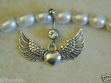 Heart With Angel Wings Navel/Belly Ring.