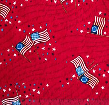 By 1/2 Yard Quilting Treasures Patriotic Fabric ~ Flag Pledge of Allegiance Red