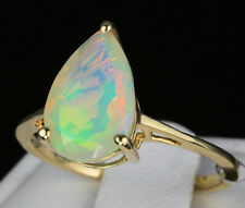 1.63ct. Genuine Ethiopian Opal Pear Shaped Solitaire 10k Solid Gold Ring Size 7