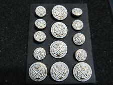 14 p DB SHANK blazer BUTTON SET  Designer Suit Button 24/34 Coat  silver/gold