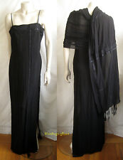 Breathtaking AKRIS Black Chiffon Ruched Ribbons GOWN Dress with SHAWL ~ Gift