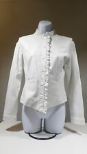 New York and Co White Button Blazer Jacket Mao Collar Size S