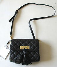 NWT Calvin Klein Quilted Nappa Leather Crossbody Bag Tassel Black/Gold $178 NEW