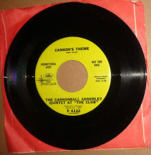 The Cannonball Adderley Quintet ‎– Cannon's Theme  / The Sticks 45 RPM Promo NM