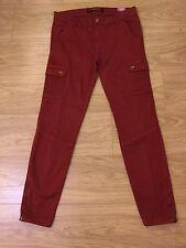 Nouveau trf zara rusty-rouge cargo skinny core denim cheville fermeture éclair pantalon UK14. ZJ279