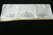 Vintage Embroidered Purple Flowers Pillowcase with Yellow Trim