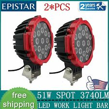 2Pcs 7INCH 51w EPISTAR LED light DRIVING JEEP SPOT BEAM offroad TRUCK ROUND RED
