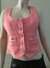 bebe Coral Cropped Button Down Tailor Fitted Stretch Vest Size L