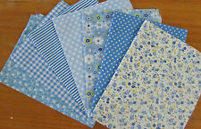 7 Blue Assorted Patchwork 50x50cm Pre-Cut Charm Cotton Quilting Fabrics Bundle