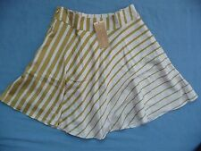 Francesca's Collection Skirt S NWT Fading Stripes Flared White Yellow Lined
