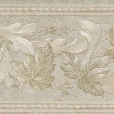 Victorian Flowers & Satin Scrolls  - White Gold Beige - Wallpaper Border A218