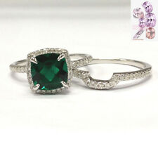 Bridal 2 Ring Set! 8mm Cushion Emerald Wedding Engagement 14K White Gold Diamond