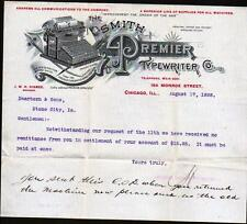1898 Chicago IL - Smith Premier Typewriter Co - J W H Higbee - Letter Head Rare