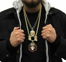 Mens 14k Gold Plated 8 Piece Lion God King Chain / Pendant Baller Bundle Set