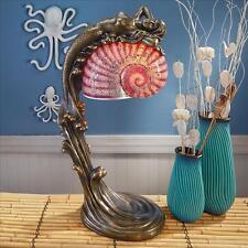 Mesmerizingly Mythic Mermaid Crackled Glass Nautilus Seashell Shade Table Lamp