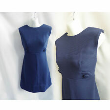 Vintage 60s Dress Size M L Navy Blue Mod Rib Jersey Shift Secretary Gogo