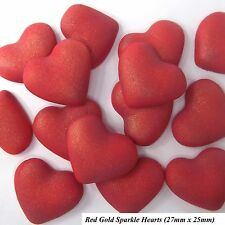 12 Red Gold Sparkle Sugar Hearts edible ruby wedding valentines cake decorations