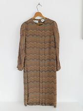 Vtg 70s Jerry Silverman Saks OP ART Pleated Boho Shift Sack Chevron Dress S M