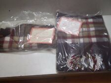 "Vintage Pair of Faribo Glengary Plaid Scarves Acrylic 12""x60"" One New"