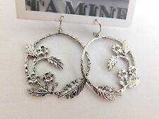 ANTHROPOLOGIE EARRINGS DROP HOOP FLOWER VINE HOOK MINI RHINESTONE SILVER #301