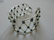 FINE SILVER COLOURED PLASTIC MESH BRACELET 8 inch (21cm)  New gift pouch