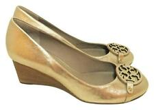 NEW Tory Burch Mini Miller Gold Platinum Wedge Pumps Shoes 11 NIB