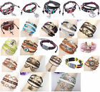 Jewelry Fashion Leather Cute Infinity Charm Wrap Bracelet Silver Lots Style Pick