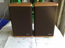 Vintage Mini Advent Bookshelf Speakers Pair Genuine Hardwood End Caps