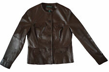 RALPH LAUREN ALETHEA BROWN LEATHER ROUND NECK LUXURY JACKET - UK 10/USA 6/EUR 40