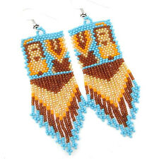 BLUE BROWN GOLDEN YEI DANCER BEAD WORK BEADED EARRINGS E20/17