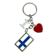 Flag of Finland I Heart Love Keychain Key Ring