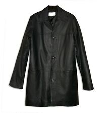Elegant Studio C Classy Black Leather 3/4 Jacket Coat w/Opt Fold-Up Cuffs-S-M*
