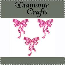 3 x 36mm Hot Pink Diamante Bows Rhinestone Vajazzle Body Art Self Adhesive  Gems
