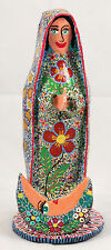 Mexican Paper Mache Our Lady Of Guadalupe Figurine Folk Art Collectible Handmade