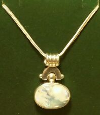 Vintage Art-Deco Sterling Silver Celtic 3ct MoonStone Pendant Necklace 18 Inches