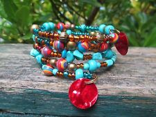 Turquoise beaded bohobracelet  wire wrap blue red gold tribal boho womens mens