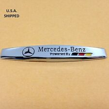 Chrome Metal Mercedes Benz Emblem (Powered By) Badge Sticker Decal Hood Trunk