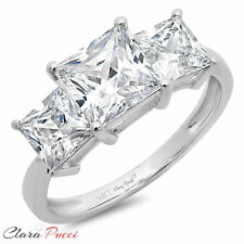 3.20 CT Three Stone Princess Cut Ring Engagement Wedding Band 14K White Gold