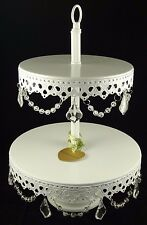 Opulent Treasures White 2 Tier Crystal Cupcake / Cake / Dessert Stand Holder