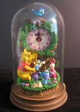 "Winnie the Pooh and Piglet Disney Glass Dome Clock ""an afternoon in the sun"""