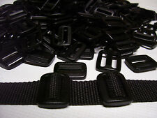 "100 Pcs. Black 1"" Sliplock 3 Bar Slide Buckles Duraflex For 1 Inch Webbing"
