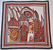 """VINTAGE ABSTRACT HUNDERTWASSER STYLE PAINTING GRAY BROWN SILK 34"""" SQUARE SCARF"""